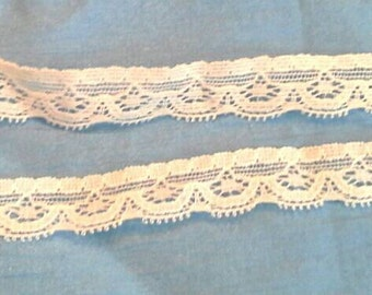 White Flat Stretch Lace Sewing Trim 10 Yards by 5/8  Inches Wide L0589