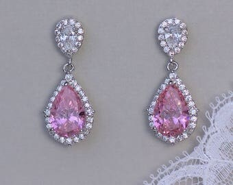 Pink Crystal Earrings, Rose Pink Bridal Earrings, Pink Teardrop Earrings, Pink Bridesmaids Earrings, LAYLA