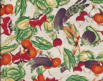 """vintage Hoffman """"Les Jardins"""" Vegetable Print Fabric (1 yard)"""