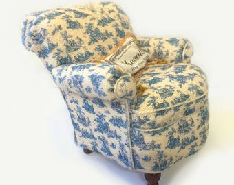 Charming Miniature Blue Toile Armchair with French Pillow