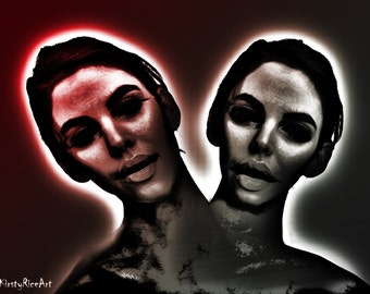 Two Heads Print - Horror Print, Horror Art, Alien Heads, Digital Manipulation, Digital Art, Spooky Faces Available to order in 8x10 or 7x5