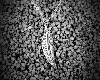 Feather Necklace - Sterling SIlver Feather Pendant, Boho Detailed Feather, Simple, Everyday Necklace, Gift For Her, Layering Jewelry