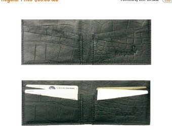 50% sale, men's wallet, crocodile black Leather Wallet ,Slim card Wallet, groomsmen gifts, minimal wallet, GIFT FOR HIMH