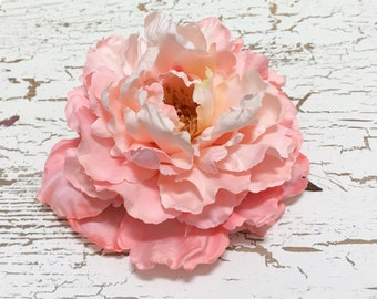 Jumbo Peony in Coral Pink - 6 Inches - Top Quality - Silk Flower, Artificial Flower, Hair Accessories, Wedding, Millinery, Hat, Wreath