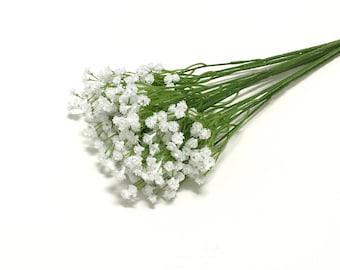 White Baby's Breath Bush, Plastic Gypsophila - Artificial Flowers, Greenery, Filler