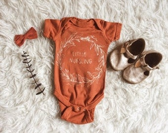 Little Nursling Onesie hand printed, 2 colors available