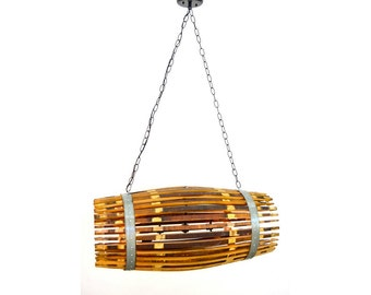 "Wine Barrel Catch Chandelier -- CRAFTSMAN ""CATCH""  --100% RECYCLED"