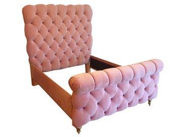Headboard Tufted Upholstered Bed Pink Velvet Channel Tufting No Corners Roll Back Footboard Sleigh Upholstered Bed Frame BY CUSTOM ORDER