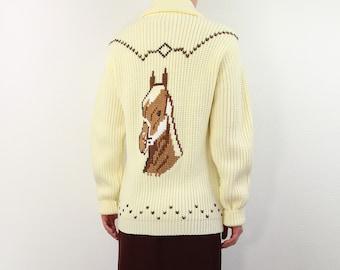 VINTAGE Horse Sweater Western Cardigan