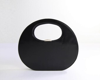 VINTAGE Mod Handbag 1960s Black Round Big Bag