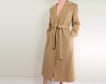 VINTAGE Cashmere Coat Belted Robe Coat