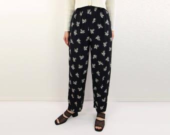 VINTAGE 1990s Printed Pants Black White Floral