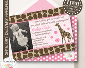 Giraffe Invitation, Giraffe Birthday Invitation, Giraffe Party, Girl First Birthday, Girl Birthday, Giraffe Invite, Giraffe Photo Invite