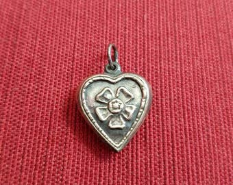 Vintage Antique Sterling Silver Puffed Heart Pendant Charm with Flower Pansy
