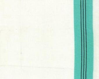 """16"""" Toweling - Cream with Aqua"""