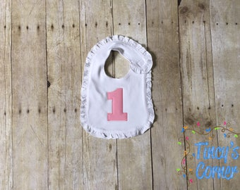 First Birthday - 1 - Appliqued Ruffle Bib