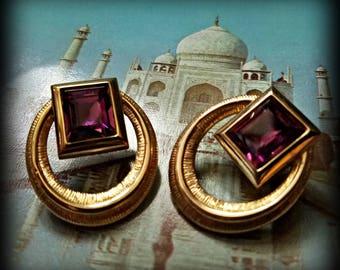 Elegant Rectangular Amethyst Rhinestone Jewel Earrings