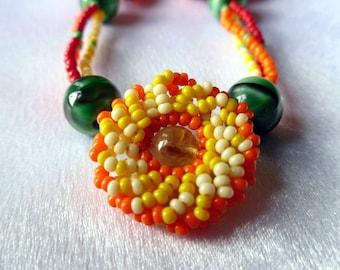 Beaded Firey Flower Necklace