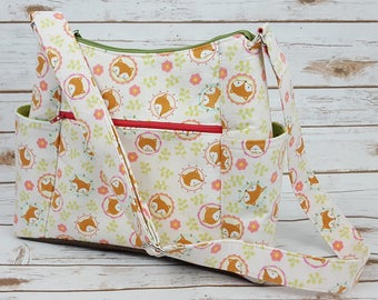 Time for a Change Bag - Foxes - Green - Polka Dots