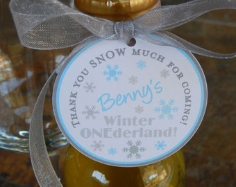 "50 Winter ONEderland Custom 2"" Birthday Favor Tags - Thank You SNOW Much - For Mason Jar Favors - Lollipops - Party Favors - 1st Birthday"