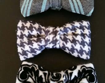 Dog bow tie, Black and white Houndstooth bow tie, gray and blue stripe,