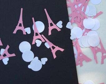Cardstock confetti Parisian mix paper confetti Paris Eiffel tower hearts bridal shower birthday party decor wedding Bachelorette party