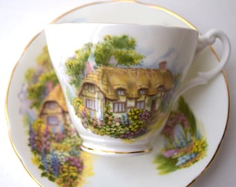Tea cup and saucer Royal Stuart England English garden thatched roof cottage vintage collectible bone china England teaparty gift for her