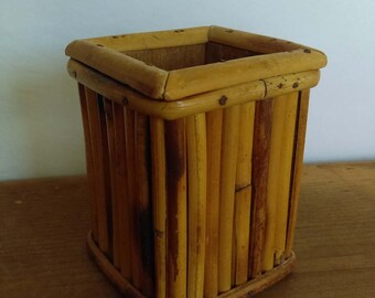 Vintage Bamboo Pencil Cup or Pen Holder
