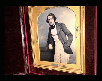 """RESERVED  Do Not Buy // Museum Quality Tinted Daguerreotype Photo Handsome Man by KILBURN 6"""" x 5"""" Case"""