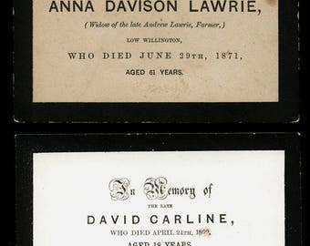 Lot of (2) Early Funeral Cards / Mourning & Memorial Int