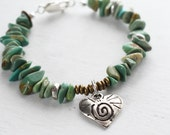 Turquoise Bracelet, Hill Tribe Silver, Sterling Silver Bracelet, Silver Heart Charm, Ethnic Brass Beads , Hippie Boho