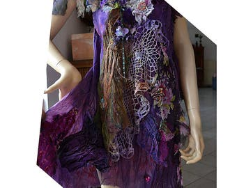 Beautiful Unique Purple  Dress With Silk Velvet Antique Details FOREST  SWAMP PURPLE  SPRINg Fairy Boho Twenties Gipsy Tattered