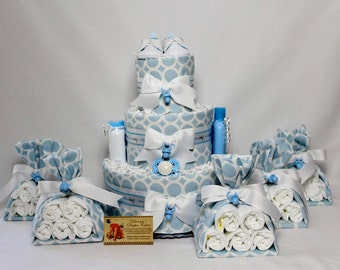 Baby Diaper Cake Boys Shower Gift and 5 Stork Bundle Centerpieces READY TO SHIP