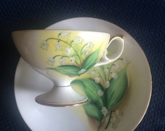 Norcrest Lily of the Valley Tea Cup and Saucer - Japan - Hand Painted - Teacup - China