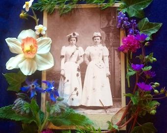 Cabinet Photo - Edwardian Women - Flower Bedecked - Butterflies -Missouri