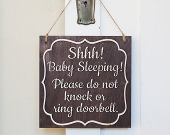Baby Sleeping Sign | Shhh! Baby Sleeping Please Do Not Knock or ring Doorbell | Naptime Door Sign |  baby sleeping | Baby sleeping