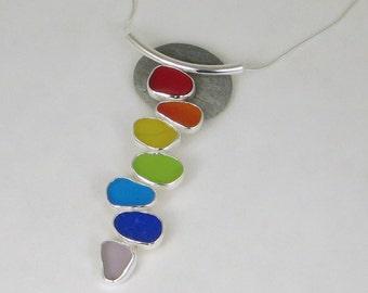 Sea Glass Rainbow Pendant