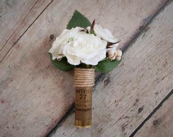 Shotgun Shell Boutonniere, Shotgun Shell Wedding Boutonniere, Ivory Rose Boutonniere, Wedding Boutonniere, Rustic Boutonniere