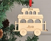 Wooden Train Car Ornament Baby's First Christmas Personalized Kids