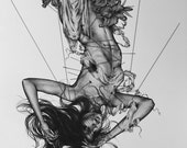 STUDIO SALE! Saint Maria Goretti Iconography Art Proof Poster Black & White 12x18 - Free shipping
