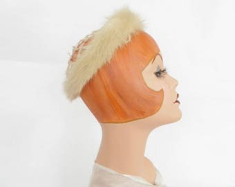 Vintage fur hat, mink, 1960s circle crown