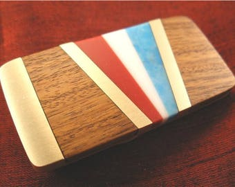 Man Gift for Him - Red White and Blue Patriotic Turquoise Money Clip - Patriotic Gift for Dad MC364