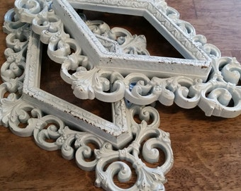 Pair Painted Cottage White Geometric Ornate Frames