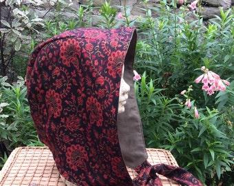 Red & Black Paisley Hood, Snood, Scoodie