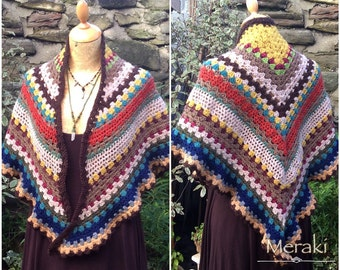 Crochet Shawl, Triangle Scarf, Granny Square Shawl