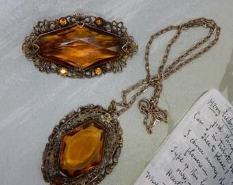 Czech Amber Topaz Large Crystal Necklace & Brooch