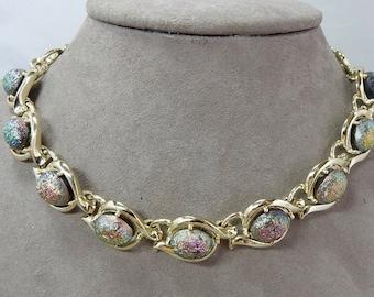 Vintage Iridescent Cabochon Choker Necklaces Bracelet & Clip On Earrings    OAH8