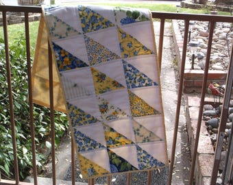 Springtime quilted table runner half square triangle runner