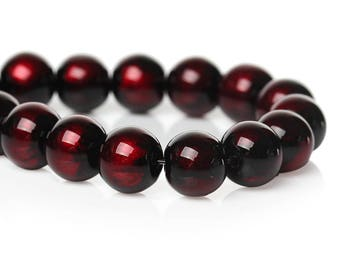 "105 pcs Black and Red Pearl Swirl Glass Round Loose Beads - 8mm - Hole Size: 1.5mm - 32"" Strand"