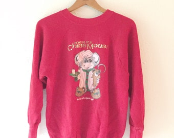 Vintage, Mouse,  1980s, Novelty Print, Ugly Christmas Sweater Party,  Holiday Shirt, 1980s, Christmouse, Sweatshirt, Top